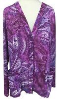 Susan Graver Style Purple Paisley Cardigan Jacket Size XL  Button Front Pockets