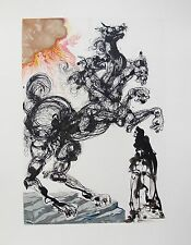 "Salvador Dali DIVINE COMEDY INFERNO #6 ""CERBERUS"" Color Woodcut Woodblock"