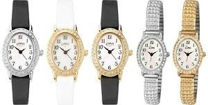 Limit Easy Reader Stone Set Oval Dial Ladies Wrist Watch - Strap / Expander