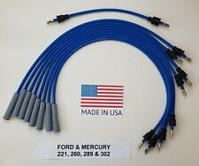 FORD 260 289 302 351W WINDSOR  8mm BLUE SPIRAL Spark Plug Wires Points Cap USA
