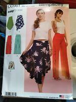 Simplicity Pattern 8649//D0961 UNCUT Pants /& Shorts Pattern New Misses/' Skirt