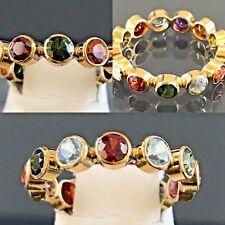 Multi-Gem 18k Yellow Gold Eternity Wedding Band Ring 7