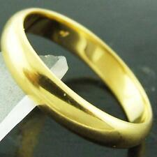 RING GENUINE REAL 18K YELLOW G/F GOLD SOLID HALF ROUND BAND DESIGN SIZE P  8