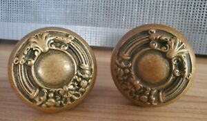 Antique Victorian Pair Brass Ornate Door Handles / Knobs - Russell and Erwin