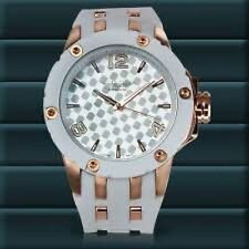 NEW Deporte Ardmore 62623500 Mens White Silicone Gold Accents With Silent Tick