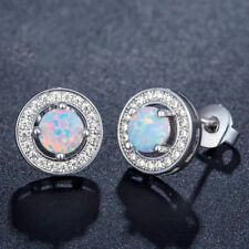 Excellent Round 6x6mm White Fire Opal Cubic Zirconia 925 Silver Stud Earrings