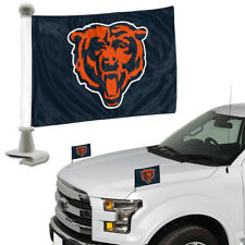 Chicago Bears Set of 2 Ambassador Style Car Flags - Trunk, Hood