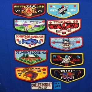 Boy Scout OA 10 Mixed Lot Order Of The Arrow Pocket Flap Patches Lot# OA 2