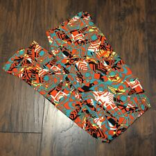 LuLaroe TC Leggings Teal Black Orange Geometric design New Without Tags