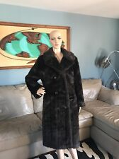 Vintage 1960's Brown Faux Fur Full Length Coat Long Jacket Made USA 60s Womens M