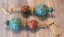 Turquoise Stone and Sandstone Gold Earrings with Ornate Gold Beads