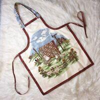VINTAGE Handmade Womens Apron Prairie Farm Homestead Adjustable Full Front