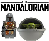 The Mandalorian & Baby Yoda Minifigure, Star Wars custom Lego Moc