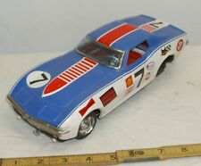 #7 CHEVY CORVETTE RACE CAR TIN BATTERY TOY BODY & CHASSIS FOR PARTS OR RESTORE
