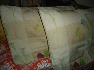 CROSCILL LA JOLLA CREAM ROSE GREEN PURPLE FLORAL (PAIR) STANDARD PILLOW SHAMS