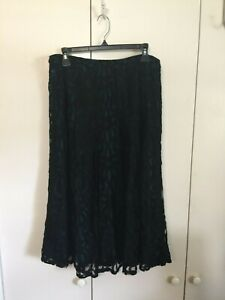 COLDWATER CREEK Black Cotton Lace Eyelet Midi Boho Skirt Teal Lining Sz 12 NWT