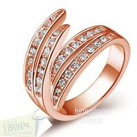 High Quality Rose Gold Plated Ring with Swarovski Crystals Size 5 6 7 8 Gift Box
