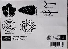 "SUM STAMPIN' UP! ""TRENDY TREES"" WOOD SET OF 8  FUN STAMPS  2 MTD RET"