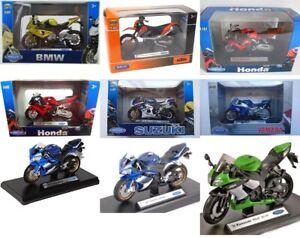 WELLY DIE CAST MOTORCYCLES 1:18 SCALE BMW KAWASAKI YAMAHA HONDA SUZUKI KTM