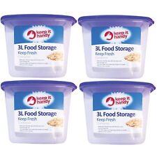 4 x 3 L Nourriture Boîte de rangement cuisine couvercle Foods riz pâtes récipient Bonbons Cookie Jar