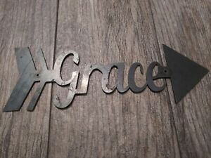 GRACE Metal Wall Art Word Quote Metal Sign Decor, Steel, Arrow Wall Decor RUSTIC