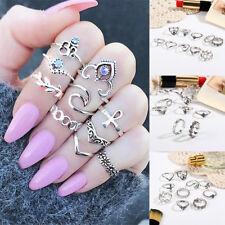 10 Stück Mode Damen silberner Stein über Knöchel Fingerband Midi Ring