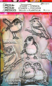 TIM HOLTZ RANGER MEDIA CLEAR STAMPS & STENCIL ~LITTLE BIRDIES CODE MDZ49548