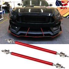 2x Red Adjust Front Bumper Lip Splitter Strut Rod Tie Support Bars Universal Fit