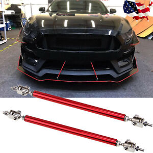 2x Red Adjust Front Bumper Lip Splitter Strut Rod Tie Support Bars Universal Fit