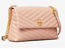 New Tory Burch  Kira Chevron Quilted leather Flap Shoulder Bag Pink Moon R$528