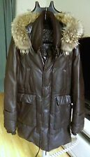Mackage Leather Goose Down Parka espresso brown lambskin racoon trim mint 40 M