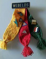 Vtg. Webelos Scout Ribbon Tri Color 7 Award Pins Badges