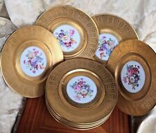 H&C Heinrich Selb  Parcel Gold Gilt & Floral Decorated Serving RARE Plates