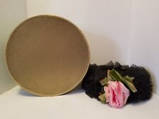 Vintage Hat Gwenn Pennington Exclusive Black Netting With Silk Floral Accent