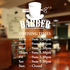Barber Shop opening times wall sticker custom decal sign hairdresser salon bb10