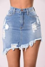 Sexy WOMENS Faded Denim Short Jeans Ripped High Waisted Slim Mini Skirt S-XL