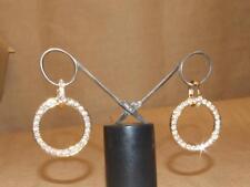 """Signed PJM Phoenix Jewelry Goldtone Clear Crystal DBL Hoop Dangle Earrings 1.75"""""""