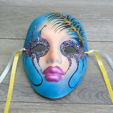 LADY FACE MASK Wall Hanging New Orleans Mardi Gras Teal + Glitter Fashion Decor!