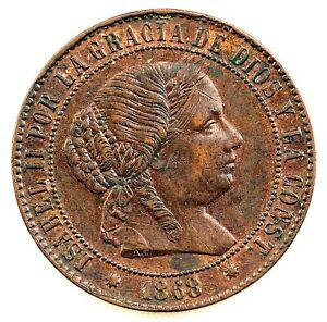 ISABEL II. 2 1/2 Centimos de Escudo. 1868. Barcelona. EBC-/XF-. Cobre 6,2 g.