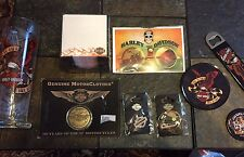 LOT OF 9 HARLEY DAVIDSON , PINS, 110 Year Anniversary Coin, Note Set, Pilsner