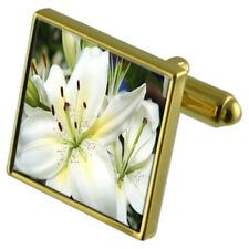 Flower Lilly Gold-Tone Cufflinks Crystal Tie Clip Gift Set