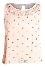 Ladies Sequin Pearl Beaded Chiffon Silk Sleeveless Vest Women's Top 8 10 12 14