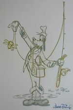 "GOOFY ""How to fish"" 1942 signed Walt Disney  LITHOGRAPH 20"" X 26"""