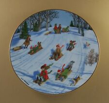 An Old Time Country Winter What A Ride Plate Danbury Mint Sledding Sliding