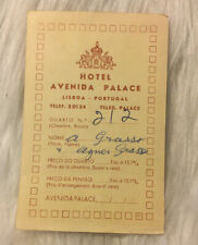 Avenida Palace Hotel Lisboa, Portugal Check In Paperwork — 1967