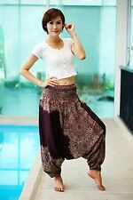 Brown Harem Aladdin Casual Trouser Boho Baggy Woman Yoga Gypsy Hippie Pants T504