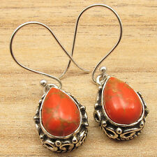Turquoise New Design Oxidized Earrings Art 925 Silver Plated Drop Orange Copper