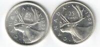CANADA 1953 SF & NSF 25 CENTS QUARTERS QUEEN ELIZABETH .800 SILVER COINS