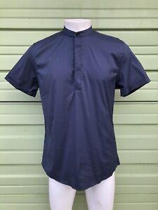 ZARA MAN Navy Shirt Mandarin collar Short sleeve m cool comfort #3642m slim fit