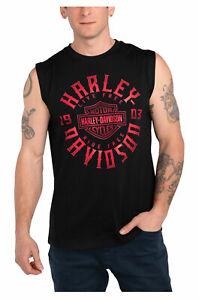 Harley-Davidson Men's Keen Glow B&S Sleeveless Cotton Muscle Shirt, Black